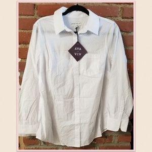 White Clipspot Button Down Shirt, 0X